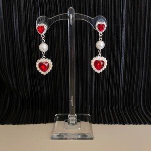 Vintage ruby pearl drop earrings